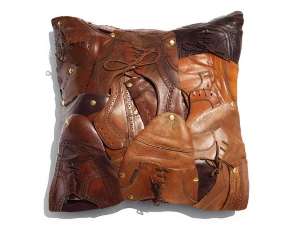the shoes throw pillow from recycled men s leather