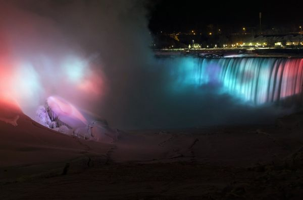 Frozen Niagara Falls bathed in colors 2