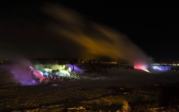 Frozen Niagara Falls bathed in colors 3