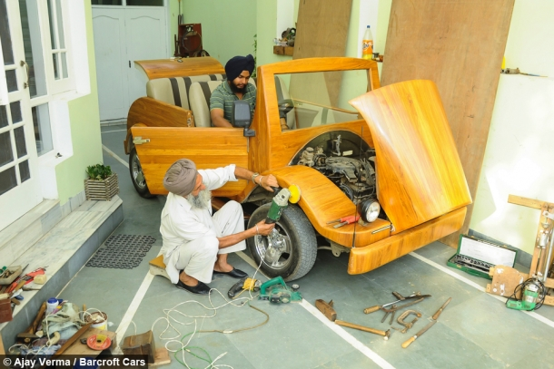 Indian father-son duo creates amazing working wooden car  6