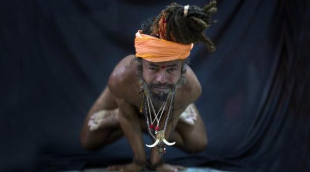 ndia's holy men practising yoga