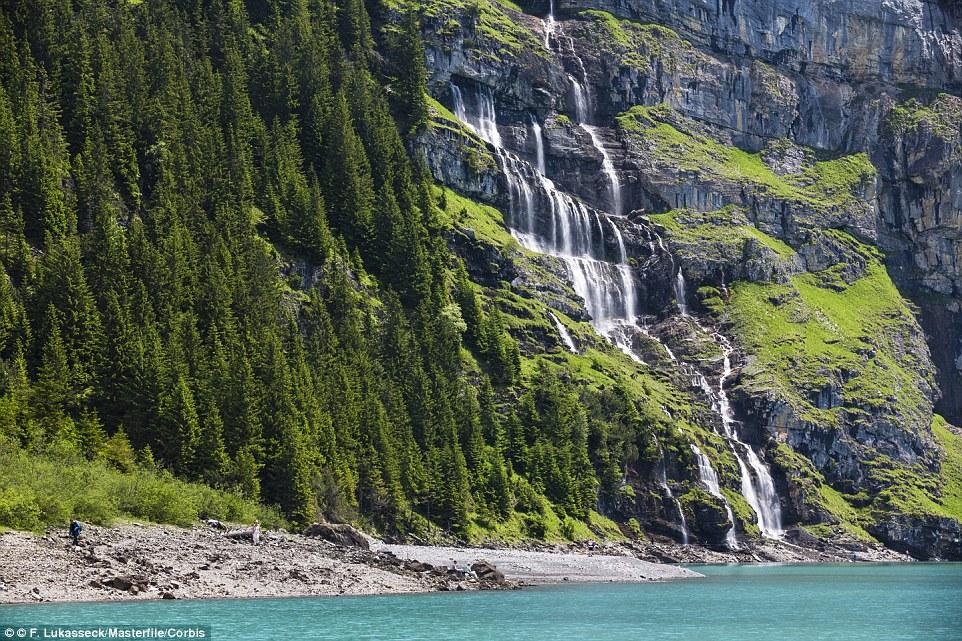 Waterfall in the Bernese Alps above Kandersteg in Switzerland