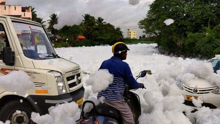 Foam flakes from Bellandur 6