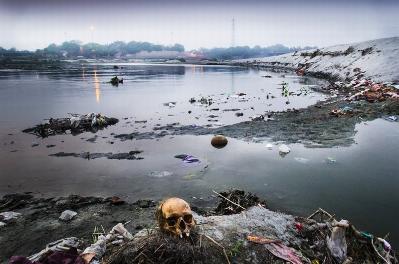 A human skull on the banks of river Yamuna in Wazirabad, New Delhi on May 5, 2013. According to some older sects of Hinduism, the human body is immersed in the river instead of burning it, and these toxic remains pollute the river for many years afterwards.