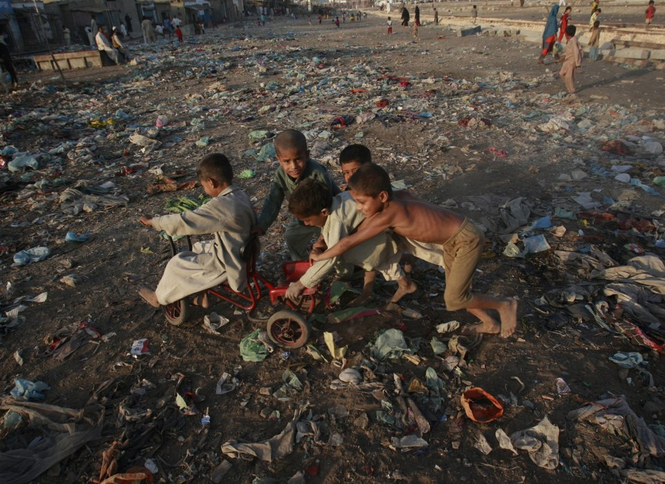 a slum area of Karachi, Pakistan