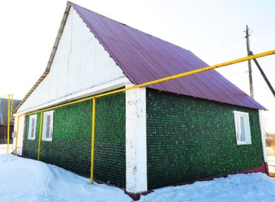 Recycled Champaign bottles house