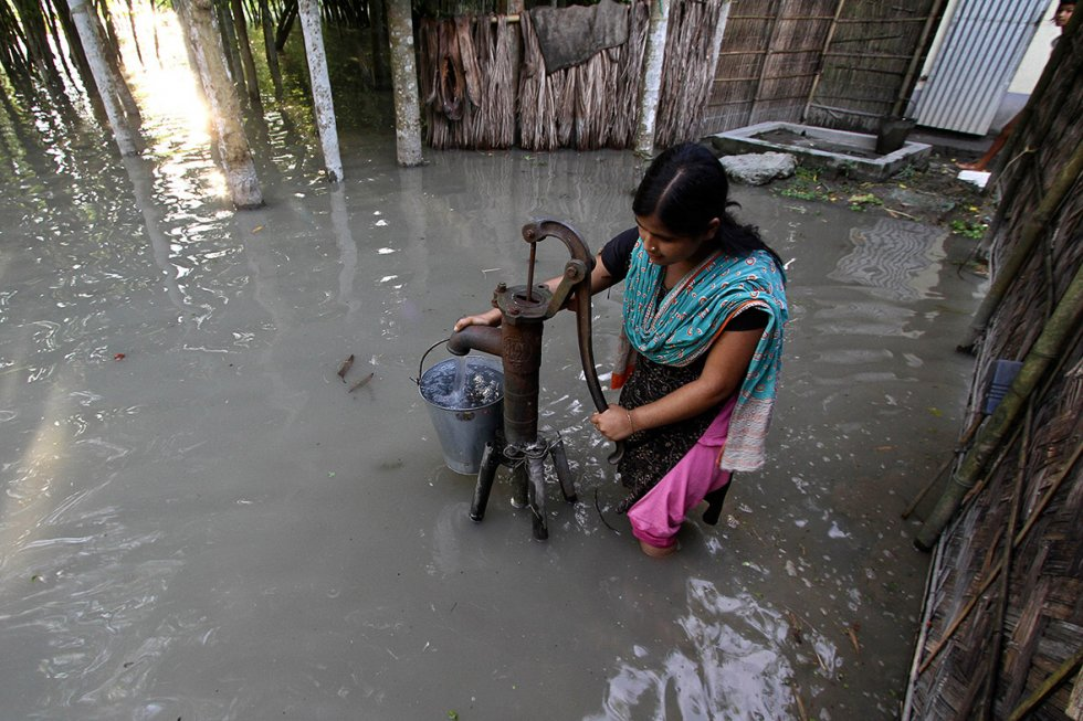 A submerged hand-pump at Dhuhibala village in Assam