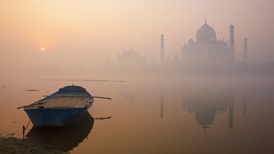The Yamuna River flowing through the city of Agra, home to the iconic Taj Mahal
