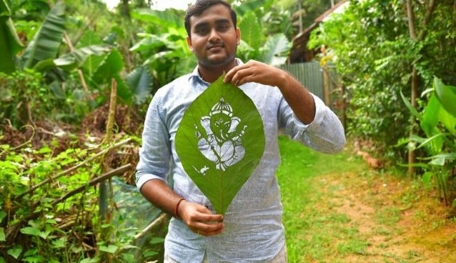 Turning Leaves into Art, Subahm Saha Promotes Ecological Form of Art