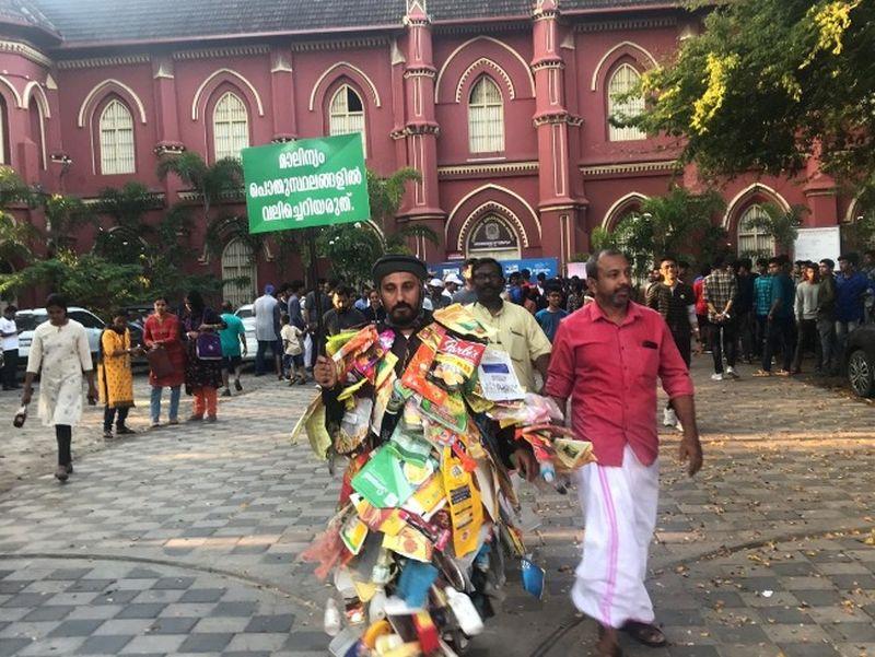 Spreading Awareness on Littering, Man Walks 100 kilometers covered in Plastic Waste