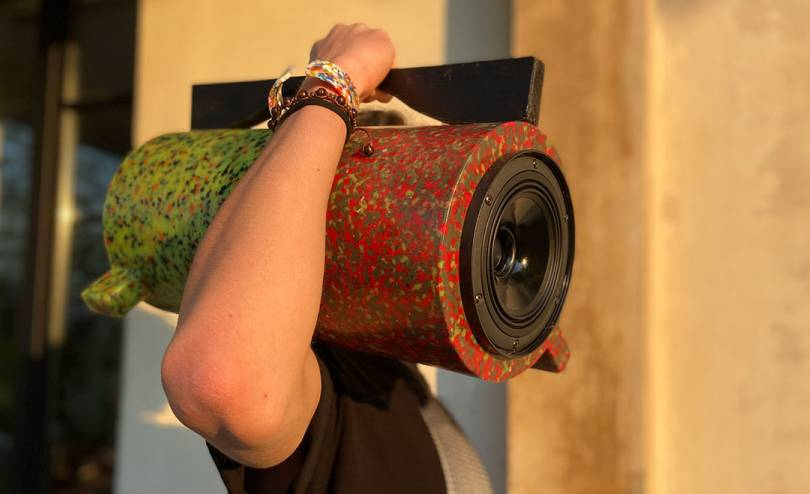 Ecopixel Ghetto Blaster speaker made from recycled material