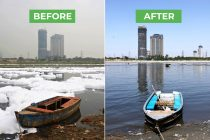 Yamuna River water clean during coronavirus lockdown - Before After Images