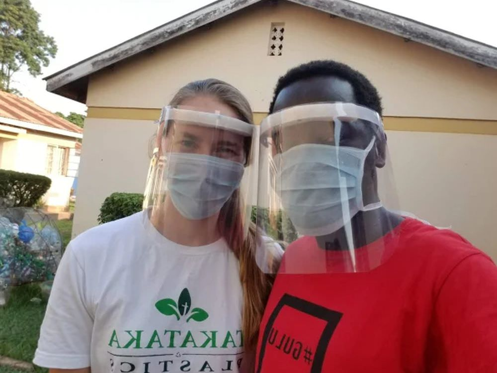 Ugandan Startup Turns Plastic Waste into COVID-19 Face Shields