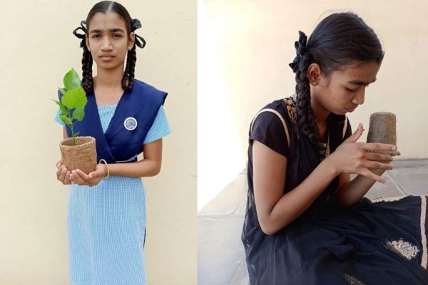 Young Girl Makes Bio-Degradable Planter Pots from Groundnut Shells